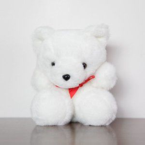 Vintage White Teddy Bear Plush Toy Stuffed Animal